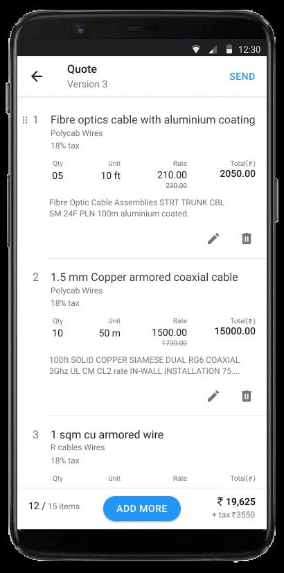 Quickquote mobile screenshot