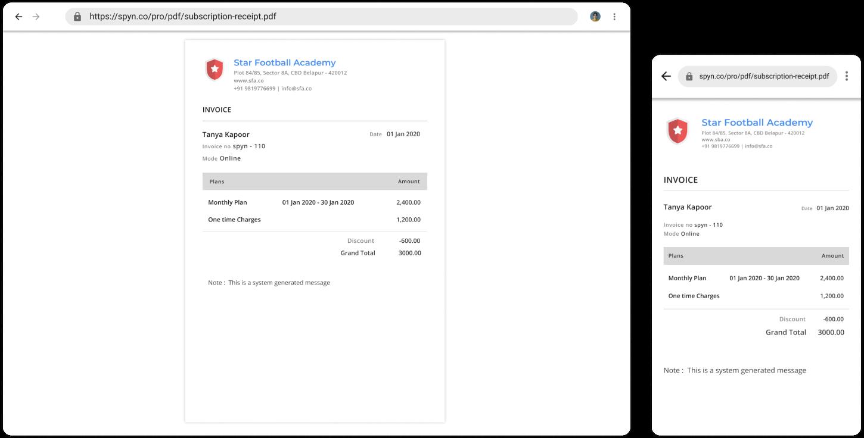 spyn AcademyPRO Payment receipt