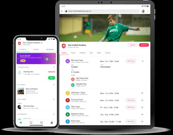 Client app for academies, studios, gyms
